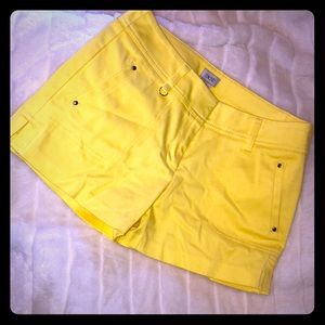 Cache tailored yellow cotton stretch shorts